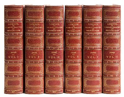 Sale BK20; Lot: 0192: JESSE, J Heneage - London Its Celebrated Characters and Remakable Places : 6 vols, full crimson morocco armorial signed binding by Bayntun Riviere, EXTRA ILLUSTRATED, 8vo, Richard Bentley, 1871.