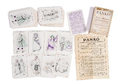 Sale BK20; Lot: 0328: SUFFRAGETTES Panko or Votes for Women the Great Card game Suffragists v. Anti-Suffragists - Pictures by ET Reed, complete with 48 cards in very good condition, sheet of rules in slightly fragile original printed case, Peter Gurney Ltd, c1900s.