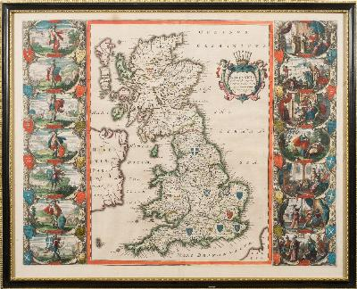 Sale BK20; Lot: 0380: SPEED, John - Britannia ... Anglo-Saxonum hand coloured map, 530 x 420 mm, German text on verso, framed and double-glazed, c1650.