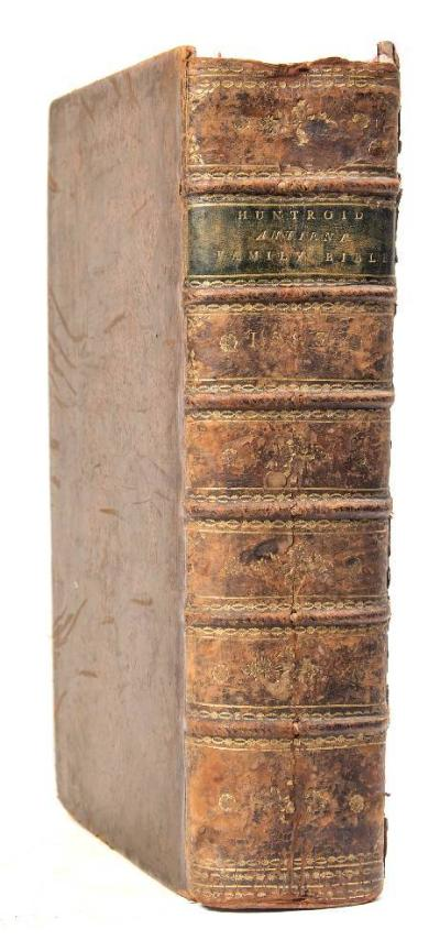 Sale BK21; Lot: 0298: BIBLE the Bible. Translated according to the Ebrew and Greeke : printed title with woodcut border, full calf worn cracked hinges, folio, lacks all before the title-page, Christopher Barker, 1583. *Note sold with all faults not subject to return.