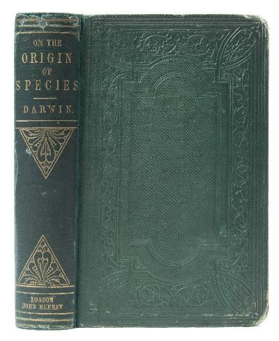 Sale BK21; Lot: 0551: DARWIN, Charles - on the Origin of Species by Means of Natural Selection original green cloth rebacked with the spine relaid, ix; (i); (1)-502 + 32 (Murray's catalogue, dated January, 1860) pages, 8vo, folding plate, half-title, 1860, fifth thousand.