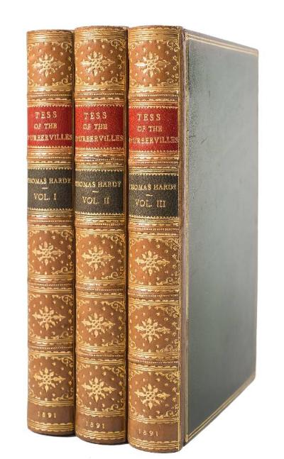 HARDY, Thomas - Tess of the D'Urbervilles 3 vols, fine full gilt calf, 8vo, James Osgood & McIlvaine, 1891.