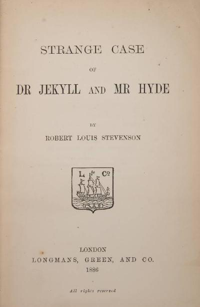 STEVENSON, Robert Louis - Strange Case of Dr Jekyll and Mr Hyde light green cloth with calf title-label on the spine, 8vo, Longman, Green, & Co, 1886.