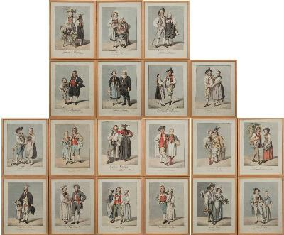 Sale BK21; Lot: 0643: European School 19th Century - The Swiss Cantons,- a set of 19 hand coloured soft ground coloured etchings each sheet size 34 x 27cm (19)Provenance. Ugbrooke House, Chudleigh, Devon.