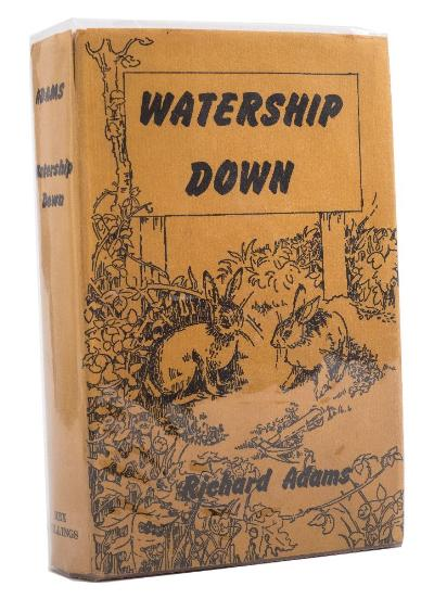 ADAMS, Richard - Watership Down original brown cloth in complete dust wrapper, lean to text block, 8vo, AUTHORS SIGNED PRESENTATION COPY, Rex Collings, first ed, 1972. * including a letter from the vendor to the author with his reply.