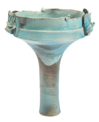 Sale CC1; Lot: 0201: Colin Pearson [1923-2007] a stoneware winged vessel of slender elongate form supporting an everted bowl with torn rim an applied double wings decorated with turquoise and cream washes, applied personal seal to underside, 27.5cm high.