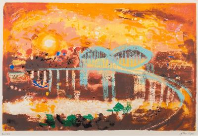 Sale CC1; Lot: 0014: John Piper [1903-1992] - Saltash Bridge,- screenprint, signed in pencil and inscribed 'For Chris' 45 x 68cm.