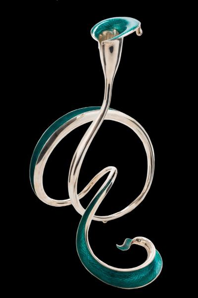 An Elizabeth II silver and sea green enamel 'Knot' candlestick, maker Jenny Edge, London, 2009 the stylised flower-shaped nozzle with single droplet to the rim, raised on a swept, curved and entwined stem, 24cm high.