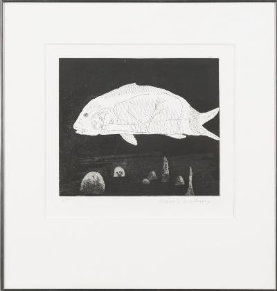 David Hockney [b 1937] - The Boy Hidden in a Fish,- etching and aquatint signed in pencil in the margin, artist's proof image 23 x 26.5cm * Note - Literature. From the Little Sea Hare Brothers Grimm Fairy Tale.