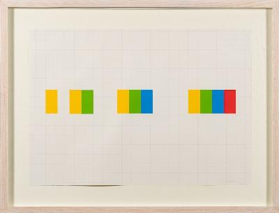 Justin Knowles [1935-2004] - WD.87.03; yellow, green, blue, red,- papier collé on graph paper with printed signature and date 2002 42 x 59cm.