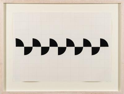 Justin Knowles [1935-2004] - WD.49.03; black quarters,- dated '03 papier collé on graph paper with printed signature and date 2002 41 x 59cm.