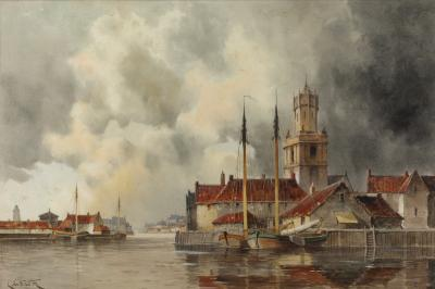 Louis Van Staaten [1836-1909] - Dutch harbour scene and town - signed watercolour 40 x 60cm.