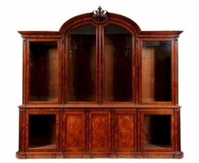 Sale FS11; Lot: 0709: An imposing Victorian burr walnut veneered library bookcase. A gift from HM Queen Mary to the Officers Association.