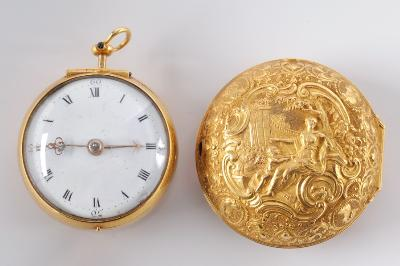 Charles Goode. A late 18th century gold, repousse pair cased open face pocket watch, the fusee verge movement with backplate inscribed Chas Goode, London, the circular white enamel dial, 37mm diameter with Roman numerals in a gold case with hallmarks for London 1796, the outer case decorated in relief with Venus and Cupid within a surround of scrolls, foliage and oval portrait medallions.