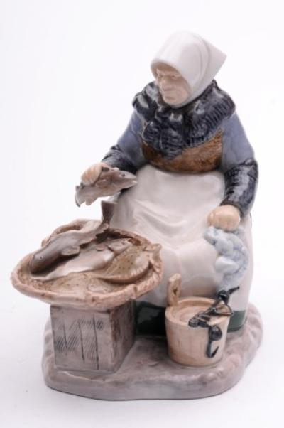 A Bing & Grondahl Porcelain Figure Group of A Fish Seller