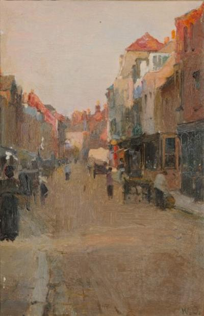 Walter Frederick Osborne (1859-1903, Irish) - High Street, Rye - signed with initials WO, bottom right oil on board 235 x 15cm, unframed Provenance: Gifted to the vendor This oil study may well be a preparatory work for the well known 'Cherry Ripe', 1889, which is in the possession of the Ulster Museum, Belfast, see opposite page. We are grateful to Professor Kenneth McConkey for his assistance in cataloguing this lot. Walter Frederick Osborne (1859-1903): Cherry Ripe 1889 Copyright: National Museums Northern Ireland. Collection Ulster Museum. [BELUM U116] Walter Osborne was born in Rathmines, Dublin. He studied at the Royal Hibernian Academy School and won the Taylor Prize in 1881 and 1882 whilst studying in Antwerp. He was influence by Jules Bastien Lepage. in 1883 he moved to Brittany and then to England where he received commissions for portraiture and in 1886 was made a member of the Royal Hibernian Academy. in 1892 he returned to Ireland and set-up a studio at No7 St Stephens Green, Dublin. Here he worked plein air in the city and around St Patrick's Cathedral or in the surrounding countryside. He died at the age of 44 from pneumonia when on the brink of his artistic maturity. His final work Tea in the Garden, a dazzling fusion of naturalism and impressionism, remained unfinished and is in the collection of the Hugh Lane Gallery in Dublin. Between c1885 and 1891 Osborne worked extensively in England, Northern France and Spain. He collected many photographs including images of local people, towns and villages which he used as both a source reference and as an inspiration for his oil paintings. During this time he travelled throughout England with a group of artists including Nathaniel Hill and Augustus Burke. Walberswick and the south of England were places Osborne frequented during this time, whilst exhibiting frequently at the Royal Academy and the Royal Hibernian Academy.