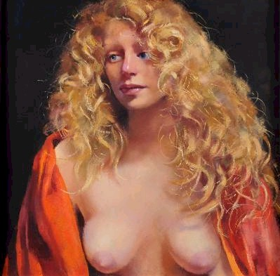 Sale FS17; Lot: 0480: Robert O Lenkiewicz [1941-2002] - Study/Girl with blonde hair signed twice and inscribed on the reverse oil on canvas 58 x 58cm.