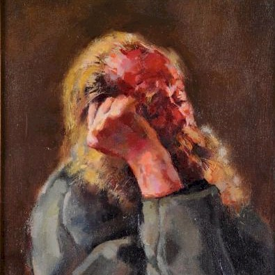 Sale FS17; Lot: 0484: Robert O Lenkiewicz [1941-2002] - The Bishop asleep on Red Chair signed bottom left oil on canvas 60 x 39.5cm.