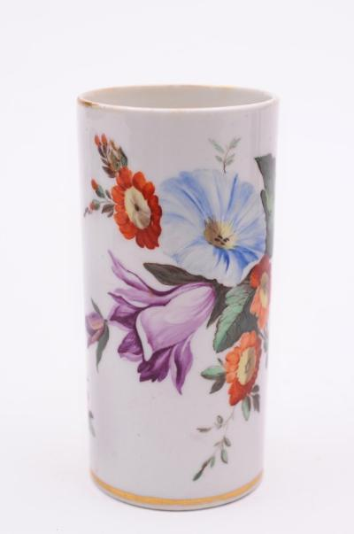 A Derby cylindrical spill vase painted in bright colours with a floral bouquet and sprays, iron-red crossed batons mark, circa 1820, 11cm high, wear to gilding.