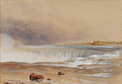 Colonel Edmund Gilling Hallewell [1822-1869] - Niagara Falls with the old Terrapin Tower and Horseshoe Falls signed bottom right watercolour over pencil heightened with white 23.5 x 34cm, together with two other watercolours.
