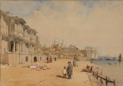 Attributed to George Clarkson Stanfield [1828-1878] - Greenwich; figures on a quayside in the foreground watercolour 26 x 36.5cm.