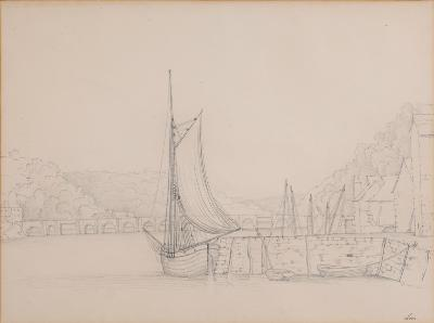 Attributed to Nicholas Matthew Condy [1816-1851] - Looe; two views of the harbour both inscribed pencil drawings each 26 x 35cm (2)-.
