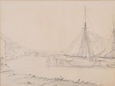 Attributed to Nicholas Matthew Condy [1816-1851] - Polperro; two views of the harbour both inscribed pencil drawings each 26 x 35cm (2)-.