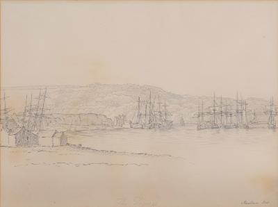 Attributed to Nicholas Matthew Condy [1816-1851] - Stonehouse Pool inscribed, pencil drawing 26 x 35cm, together with three other drawings, two inscribed 'from the Hoe', the other 'in Plymouth Sound'. (4)-.