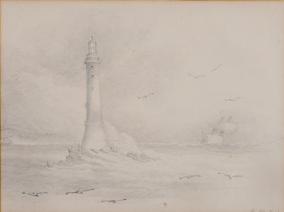 Attributed to Nicholas Matthew Condy [1816-1851] - The Eddystone inscribed, pencil drawing 26 x 35cm, together with three other drawings, two inscribed 'from the Hoe', the other 'in Plymouth Sound'. (4)-.