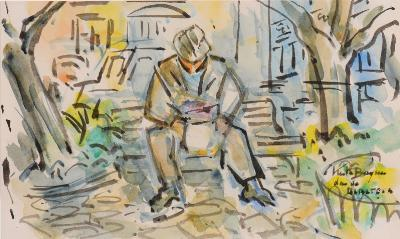 Keith Stuart Baynes [1887-1977] - Man on park bench signed and inscribed watercolour 16.5 x 27.5cm.