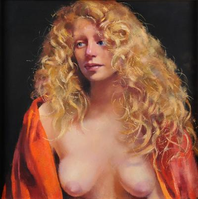 Robert O Lenkiewicz [1941-2002] - Study/Girl with blonde hair signed twice and inscribed on the reverse oil on canvas 58 x 58cm.