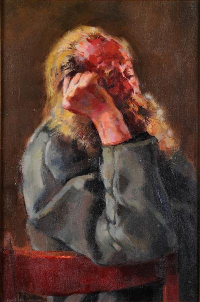 Robert O Lenkiewicz [1941-2002] - The Bishop asleep on Red Chair signed bottom left oil on canvas 60 x 39.5cm.