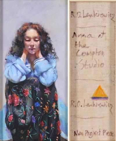 Robert O Lenkiewicz [1941-2002] - Anna at the Compton Studio signed twice and inscribed with title on the reverse further inscribed 'Non Project Piece' and marked with a yellow triangle oil on canvas 48.5 x 23cm.