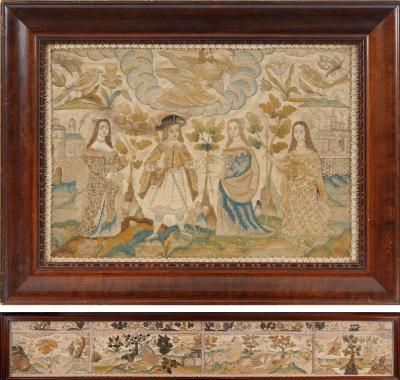 A group of Charles II stumpwork panels probably from a casket and mounted within two frames, the top panel depicts the Judgement of Paris, 30 x 45cm; the sides depicting the Death of Adonis, Pyramus and Thisbe, Narcissus Admiring His Reflection and Daphne Pursued By Apollo, with a border containing snails, butterflies, birds, insects and fish, worked in coloured silks, raised work, coiled wire and glass beads, 23 x 155cm.