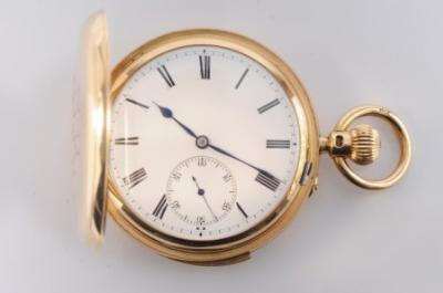 Sale FS18; Lot: 0159: Hunt and Roskell. A gentleman's 18ct gold hunting cased repeater pocket watch, the circular white enamel dial, 43mm diameter with Roman numerals and subsidiary seconds dial, the backplate inscribed 'Hunt and Roskell No 2149', the dust cover with inscription dated 1898, in a monogrammed 18ct gold case with slide in the band, 148gms total all in weight and in fitted case stamped 'Hunt and Roskell'.