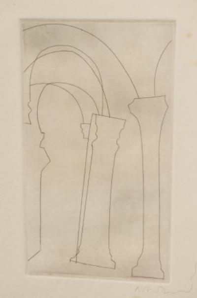 Ben Nicholson [1894-1982] - Columns, possible preparatory to Aquieia; etching, signed and dated '65in pencil in the bottom right border; blindstamp bottom left corner of sheet; plate size 23.5 x 14cm, sheet size 37.5 x 28cm.