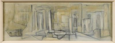 Alixe Jean Shearer Armstrong [1894-1983] - Roman Forum signed, inscribed and dated 1959 on the reverse oil on board 22.5 x 625cm.