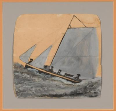 Alfred Wallis [1855-1942] - The Mariners - oil on paper (half a brown envelope) 21 x 22cm Inscribed on the reverse by Michael snow with provenance.