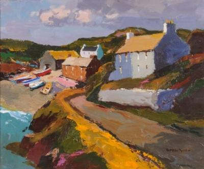 Sale FS18; Lot: 0397: Donald McIntyre [1923-2009] - Road to the Shore signed bottom right D McIntyre oil on board 51 x 61cm.