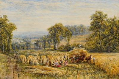 Edmund George Warren [1834-1909] - Haymaking - signed watercolour heightened with white 44 x 65cm.