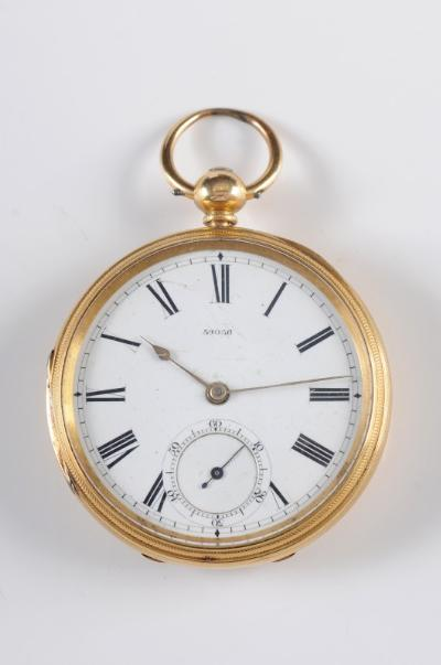 Sale FS20; Lot: 0182: A gentleman's 18ct gold fusee lever openface pocket watch, the circular white enamel dial, 44mm diameter with Roman numerals, subsidiary seconds dial numbered 59056, the three quarter backplate similarly numbered in a guilloche engine-turned case, 100gms gross weight.