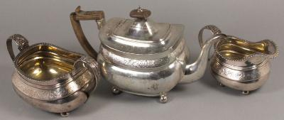 A George III Silver Teapot, London, 1808, Together with A Similar Cream Jug...