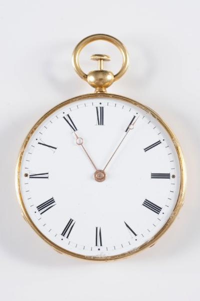 J F.Bautte & Cie. A gentleman's mid 19th century gold cased open face quarter repeat pocket watch, the circular white enamel dial with Roman numerals, the dust cover inscribed 'No 58041, JF Bautte & Cie Aiguiller A Paris Rue de la Paix No 8', in a guilloche case and with steel winding key.