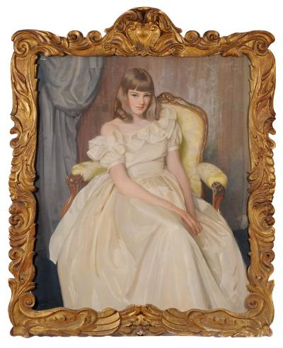 William Oliphant Hutchison [1889-1970] - Portrait of Helen Elizabeth Anne Hutchison, the artist's daughter - three-quarter length seated in a fauteuil, wearing a long cream silk dress, in a salon interior signed and dated WO Hutchinson 1949 top right oil on canvas 117 x 98cm, in a scroll and acanthus carved wood frame. Society of Scottish Artists and Paris Salon 1962 labels attached to the reverse.
