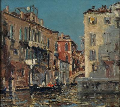 Emma Ciardi [1879-1933] - Venetian canal - signed, bottom right oil on board 26.5 x 29cm.