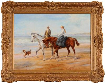 Heywood Hardy [1842-1933] - Riders on the Shore - signed Heywood Hardy bottom right oil on canvas 48 x 66cm.