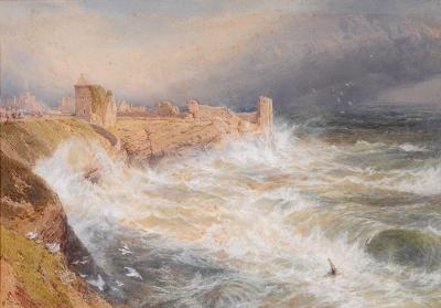 Myles Birket Foster [1825-1899] - 'St. Andrews stormy seas breaking against the cliffs - monogrammed and inscribed St Andrews bottom left watercolour heightened with white 58 x 835cm.