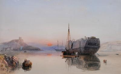Sale FS20; Lot: 0467: Samuel Phillips Jackson [1830-1904] - Hulk in Plymouth Sound - signed and dated 1856 bottom left watercolour 46 x 735cm.