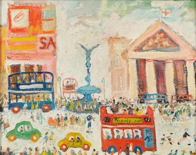 Simeon Stafford [b 1956] - No.17 Bus, Piccadilly Circus signed bottom left inscribed on the reverse oil on board 39 x 49cm.