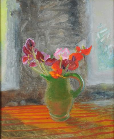 Winifred Nicholson [1893-1981] - Still life of Garden Flowers - circa 1972, oil on canvas board 59 x 48.5cm.